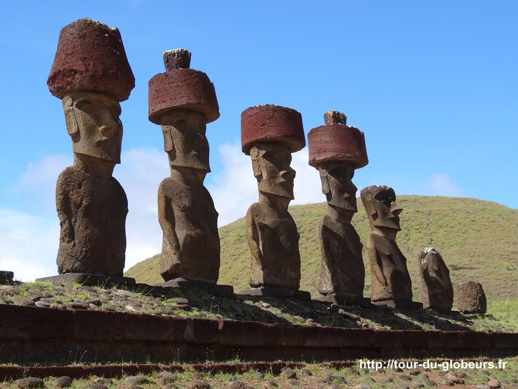 Chili - Ile de Pâques - Moaïs de la plage d'Anakena