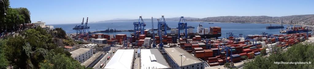 Chili - Valparaiso - Panoramique sur le port